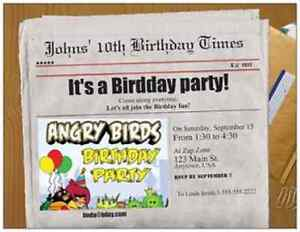 Image Is Loading 30 ANGRY BIRDS CUSTOM Personalize BIRTHDAY INVITATIONS ENVELOPES