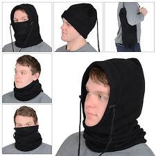 Para Hombre 6 En 1 Negro Polar Polar Capucha redecilla Pasamontañas Cuello Ski Gorro Bufanda Máscara