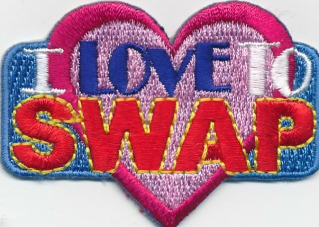 Girl I LOVE TO SWAP HEART Fun Patches Crests Badges SCOUTS/GUIDES Iron On