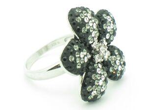 Platino Plata Diamante Set Blanco y Negro Cristal Flor Anillo Nuevo Idea Intenso