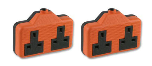 Twin 2 Gang Orange Prise deux voie Impact Caoutchouc Plug 13 A Alimentation Secteur BS1363A