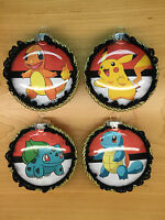 Pokemon Decorated Glass Christmas Ornaments - Set Of 4