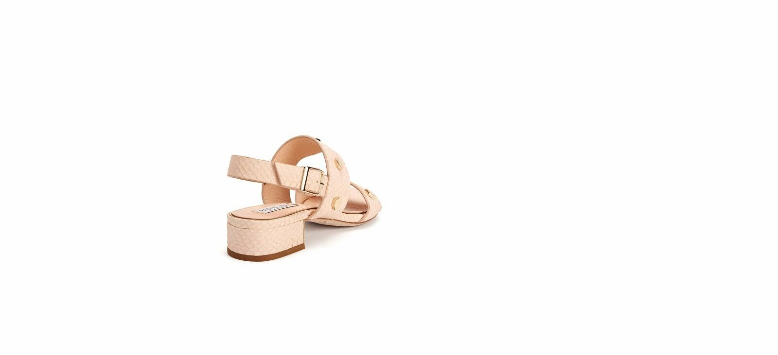 Rachel Zoe Florence Studded Snake-Embossed Leather Sandals, Nude, Size 8