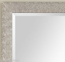LARGE MODERN FRENCH ~ PEBBLE TEXTURE ~ SILVER WALL MIRROR BATHROOM VANITY FOYER