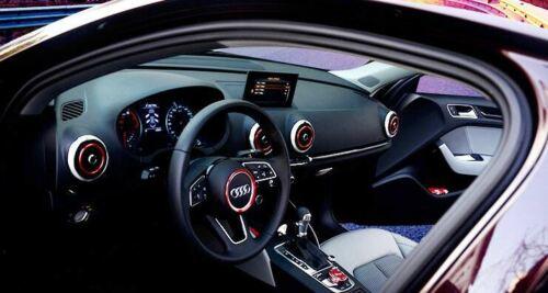 4PCS Aluminum Red Car AC Vent Outlet Decor Ring Cover Trim for Audi A3 S3 2013+