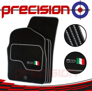 Fitted Tailored Car Mats with 500 Logo & Silver Twist for Fiat 500 2007-2012
