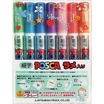 Uni POSCA JAPAN Drawing Pen Pens with Glitter 7 colors Fine PC3ML7C