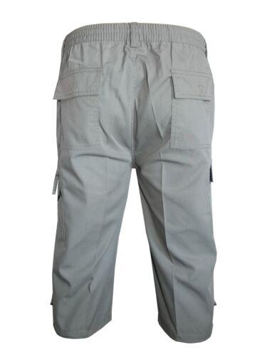 Mens Classic 3//4 Shorts Cargo Combat 100/%Cotton Elasticated Black Short M to 3XL
