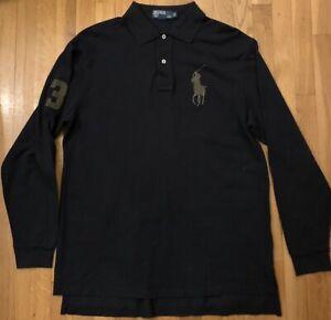 "Ralph Lauren Men Long Sleeve Polo Shirt Big Pony & ""3"" Logo, Large ..."