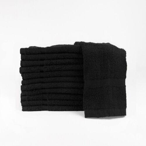 12 (1 dozen) new black salon hand towels dobby border ringspun cotton 16x27 3#
