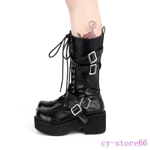 Details about  /Lolita Shoes Cosplay Women/'s Knee High Boots Punk Riding Platform Buckles Straps