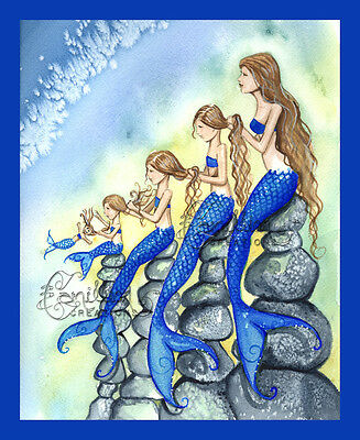 FIVE MERMAIDS BLUE Family Print from Original Painting By  Camille Grimshaw