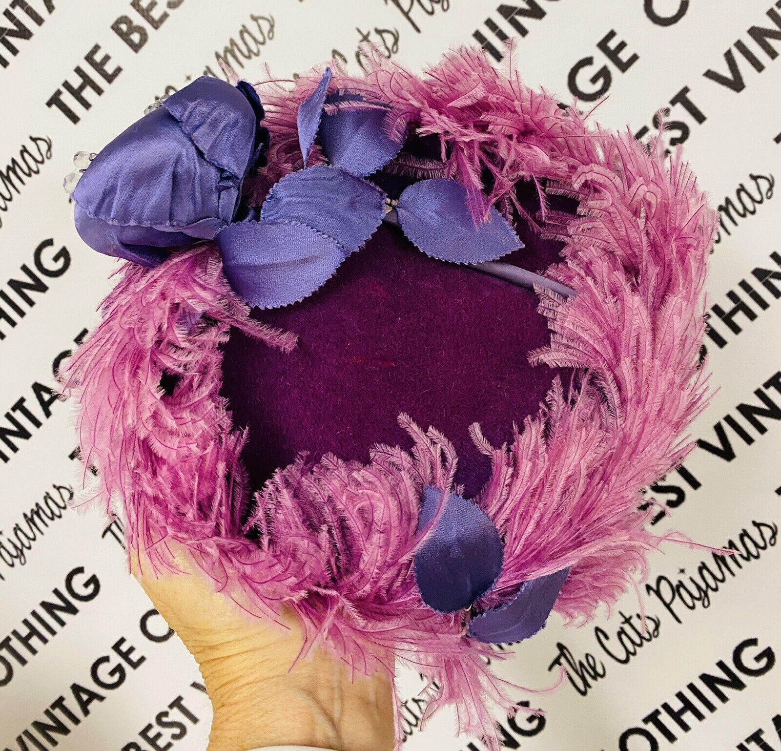 VINTAGE 1940's SUZY LEE Purple Feather Flowers Ha… - image 5
