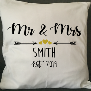 PERSONALISED MR AND MRS CUSHION COVER WEDDING ANNIVERSARY NEW HOUSE XMAS GIFT!