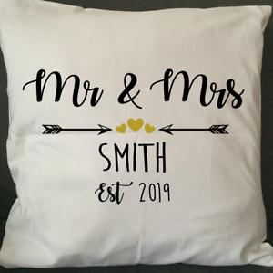 Personnalisé Mr /& Mrs Housse De Coussin Mr /& Mrs Coussin Mariage Coussin Cadeau