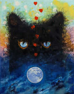 BLACK-CAT-MOONLIGHT-16x20-034-Oil-Painting-Full-Moon-Hearts-Original-Art-M-Creese