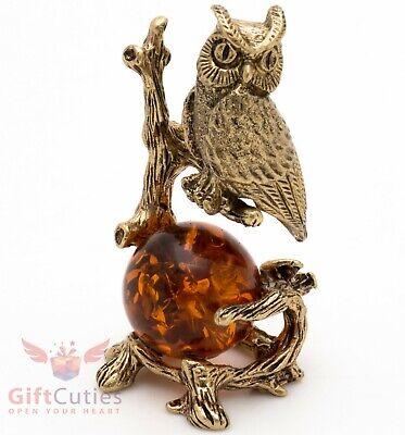 Solid Brass Amber Figurine Of Bird Owl Sitting On The Tree Branch Ironwork Ebay