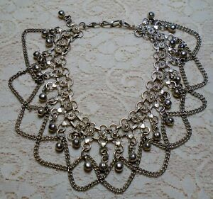 VINTAGE-SILVER-TONE-BEADED-DANGLE-CHAIN-BELLY-DANCER-CHOKER-NECKLACE