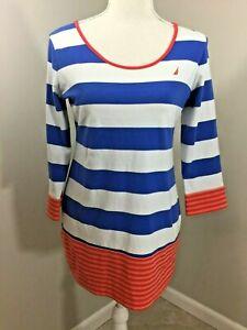 Nautica-womens-short-sleeve-long-length-striped-Top-blue-white-orange-Size-M