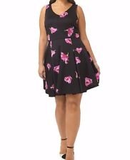 Julian Taylor Scuba Knit Fit And Flare V Neck Dress In Rose Size 16W