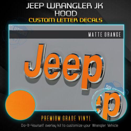 JK Solid Flat Matte Front Badge Overlay Decal Fit 2007-2018 Jeep Wrangler