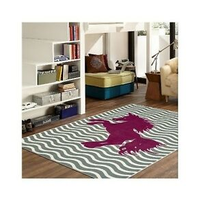 Area Rug For Girls Rooms Gray White Waves And Unicorn Design Soft