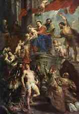 Madonna Enthroned With Child And Saints A4 Print
