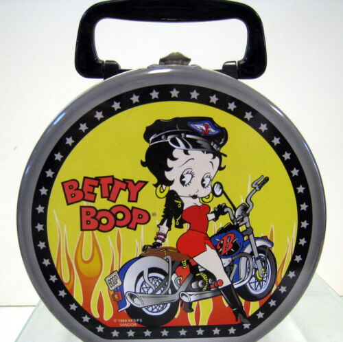 New Betty Boop Sitting on a Bike Biker Metal Tin Tote Lunch Box Liv 2 Ryd