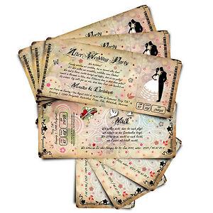 Einladungskarten Zur Hochzeit Ticket Mit Abriss Coupon After