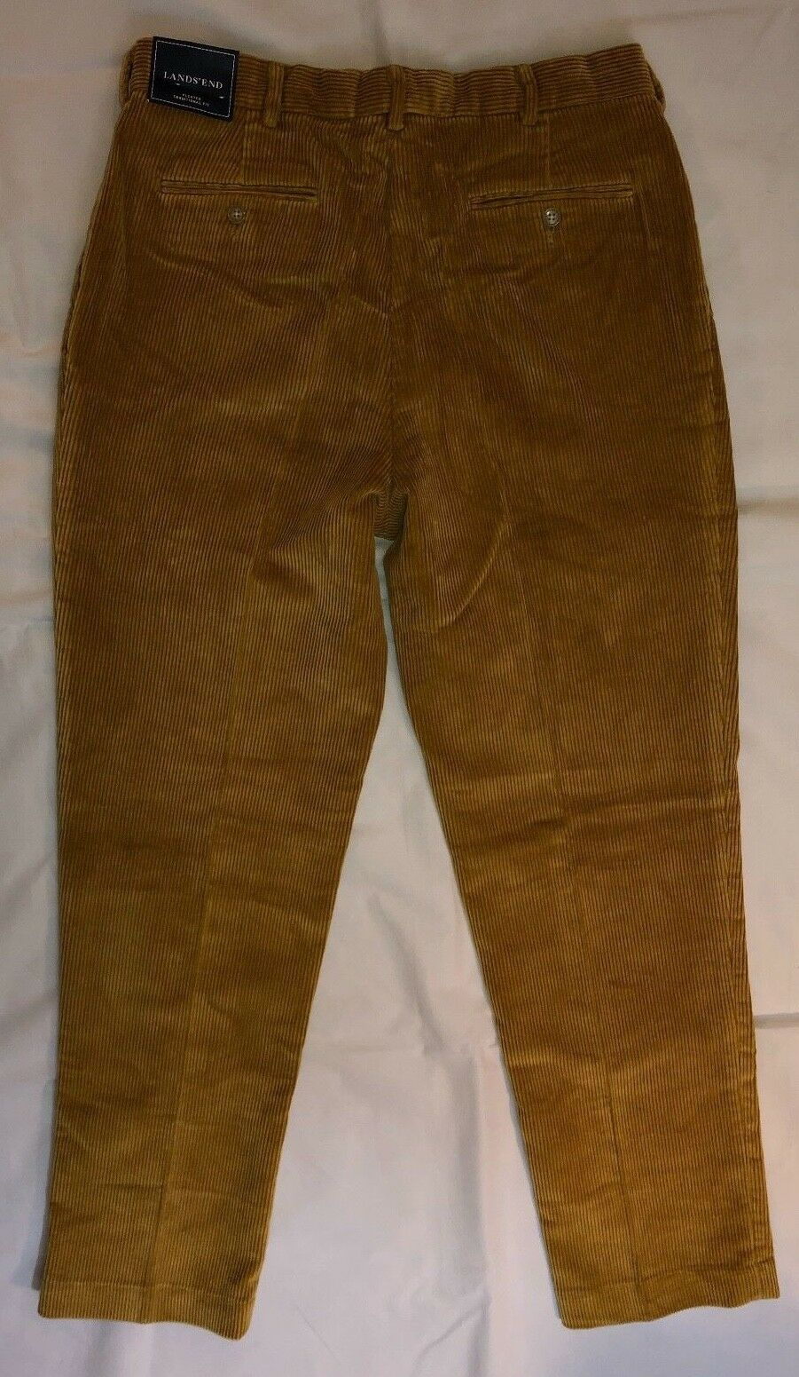 Lands' End Men's Traditional Fit Brown Corduroy Pants 34 X 33 New with Tags