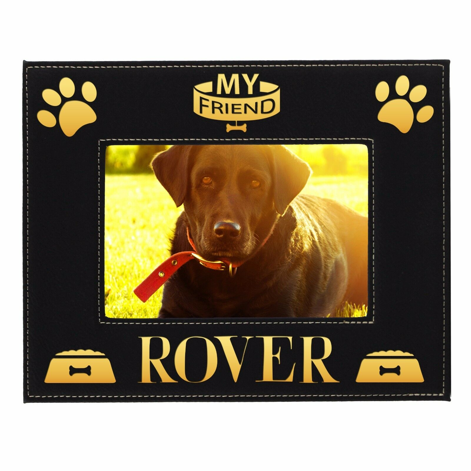 Personalized Pet Dog Picture Frame 5x7- Custom Engraved Animal Photo ...