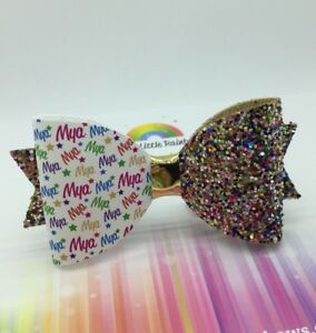 Personalised Glitter Bow Any Name Party Glitter Hair Bow