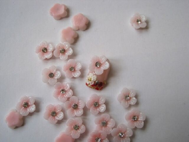 3D Nail Art Bows Flowers Roses with Rhinestone 3D Nail Art Decoration 12 Pieces