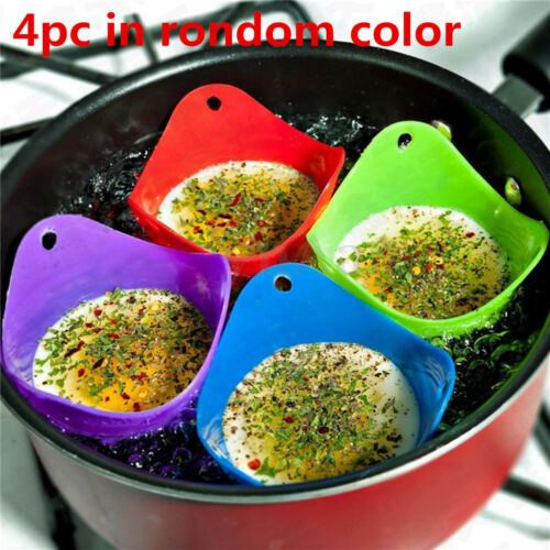 Cookware **UK STOCK** 1//4 x Silicone Egg Poacher Poaching Poach Cup Pods Mould