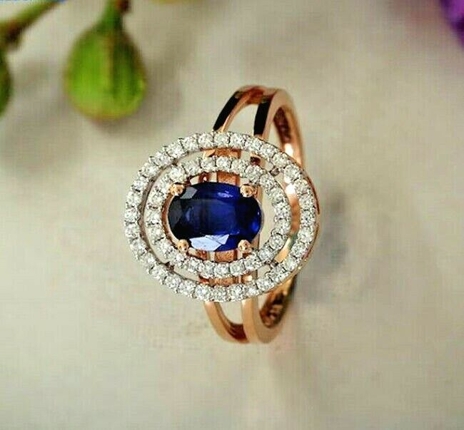 1.20ct NATURAL DIAMOND 14K SOLID YELLOW gold blueE SAPPHIRE GEMSTONE CLUSTER RING