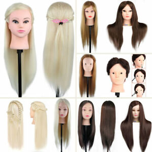 100-Real-Human-Hair-Hairdressing-Training-Head-Cosmetology-Mannequin-Salon-muti