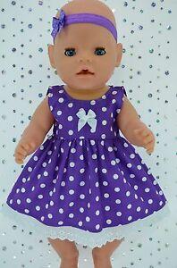 "Play n Wear Doll Clothes To Fit 17"" Baby Born  PURPLE POLKA DOT DRESS~HEADBAND"