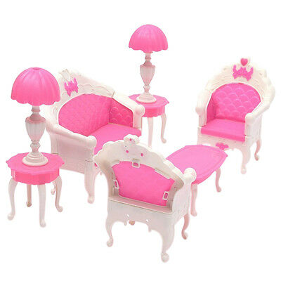 6pcs Toy For House Barbie Doll Furniture Living Room Sofa Pink and white