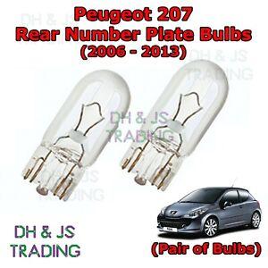 Peugeot 207 Rear Number Plate Bulbs Reg Plate Bulb Pair Light Lights 06 13 Ebay