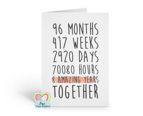 8th wedding anniversary card 8 amazing years together 8th anniversary