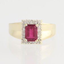 Rubellite Tourmaline & Diamond Ring - 14k Yellow & White Gold Halo 1.67ctw