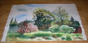 VINTAGE-CANADIAN-WATERCOLOR-TREES-SPRING-GREEN-IMPRESSIONISM-LANDSCAPE-PAINTING