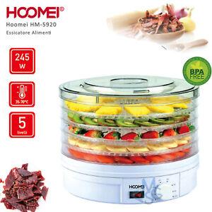 Essiccatoio per Alimenti Funghi Verdura Frutta Carne 240 W 5 Strati
