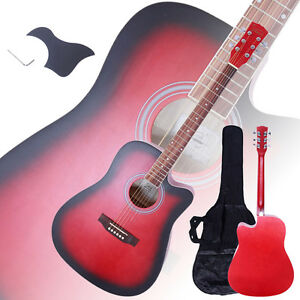 New-41-034-Full-Size-Adult-6-Strings-Cutaway-Folk-Acoustic-Guitar-Red
