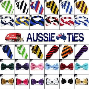 DUAL-COLOUR-STRIPED-TIES-Bow-Skinny-Slim-Boys-Pocket-Square-and-Stripes-Mens