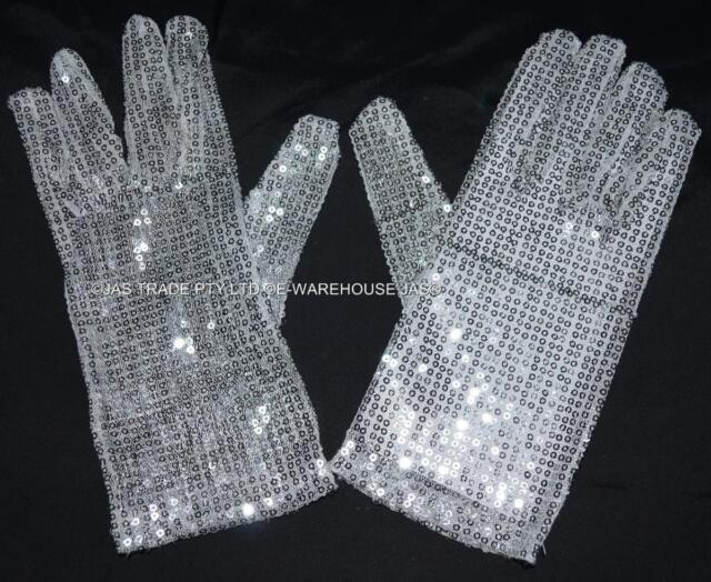 Michael Jaskson Moon Walk Fancy Dress Costume Party Sequin Glitter Glove(s)
