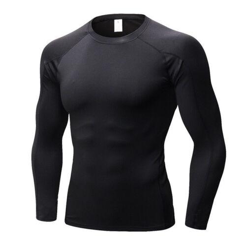 Men/'S compressione indossare Athletic T-shirt manica lunga BASE LAYER stretto Quick-Dry