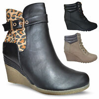 Womens Ladies Mid Wedge Heel Platform Lace Up Winter Ankle Boots Shoes SIZES UK
