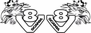 scania007 Sticker autocollant Scania  griffon v8  Ref