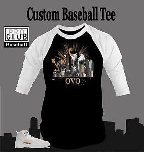 5bfd28158de Details about Pro Club Baseball T Shirt to Match AIR JORDAN 12 OVO Shoe T  Drake Music Tribute